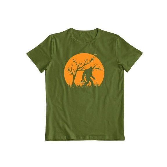 Bigfoot Trick or Treating on Halloween Unisex T-Shirt-Military Green-S-Daily Steals