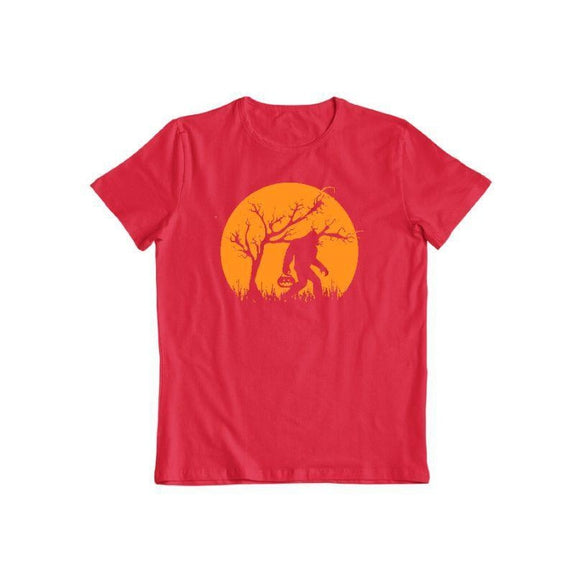 Bigfoot Trick or Treating on Halloween Unisex T-Shirt-Red-S-Daily Steals