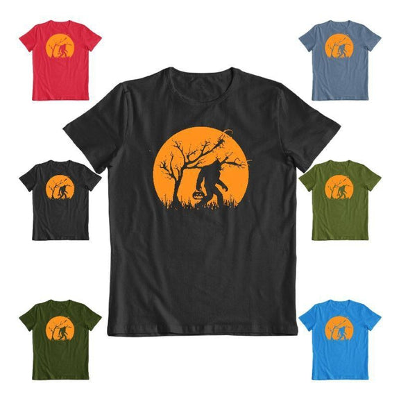 Bigfoot Trick or Treating on Halloween Unisex T-Shirt-Daily Steals