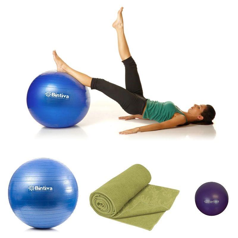 Daily Steals-Bintiva Yoga Mat Towel, Stability Yoga Ball, and Mini Pilates Ball-Health and Beauty-