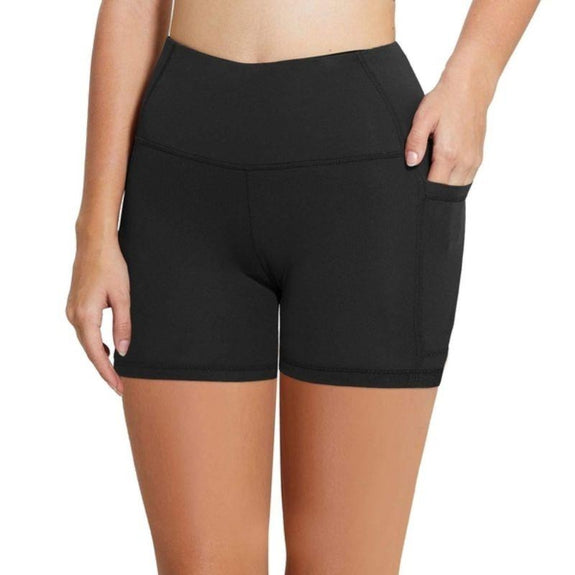 Women's High Waist Workout Biker Yoga Shorts with Side Pockets-M-Daily Steals