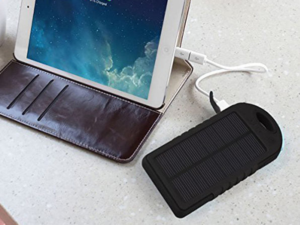 5,000mAh Impact-Resistant Portable Power Bank with Solar Panel-Daily Steals