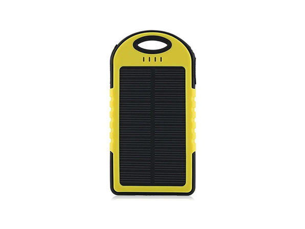 5,000mAh Impact-Resistant Portable Power Bank with Solar Panel-Yellow-Daily Steals