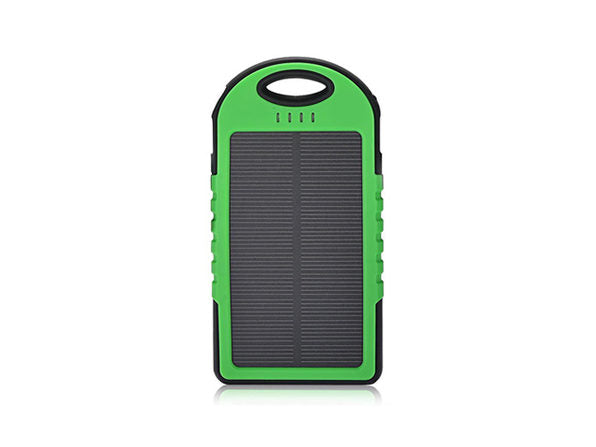 5,000mAh Impact-Resistant Portable Power Bank with Solar Panel-Green-Daily Steals