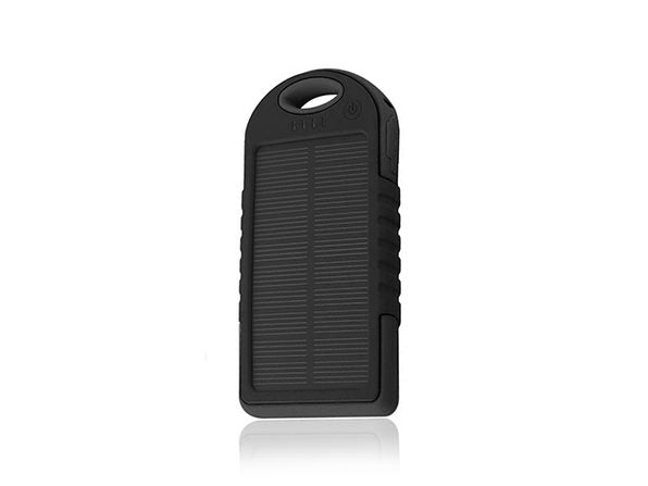 5,000mAh Impact-Resistant Portable Power Bank with Solar Panel-Black-Daily Steals