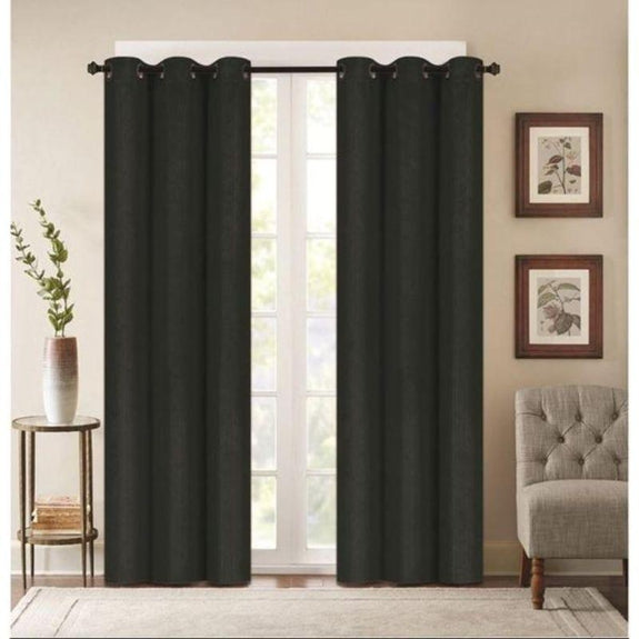 "Embossed Faux Silk 76""x63"" or 76""x84"" Grommet Window Panel Pair-BLACK-76'' X 63''-Daily Steals"