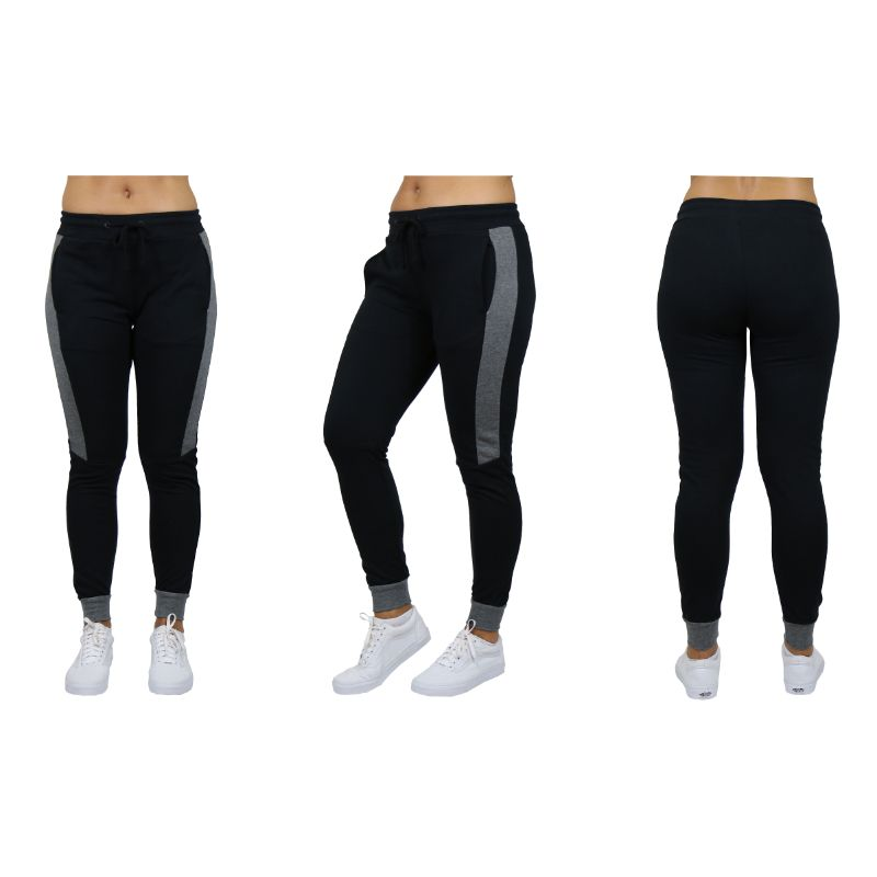 Women's Slim-Fit French Terry Joggers With Contrast Trim-Black-Small-Daily Steals