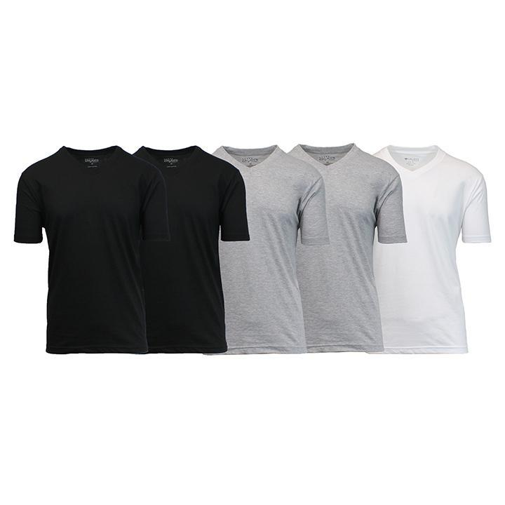 Daily Steals-Men's Premium Cotton Blend Short Sleeve V-Neck Tees - 5 Pack-Men's Apparel-Black - Black - Heather Grey - Heather Grey - White-Medium-