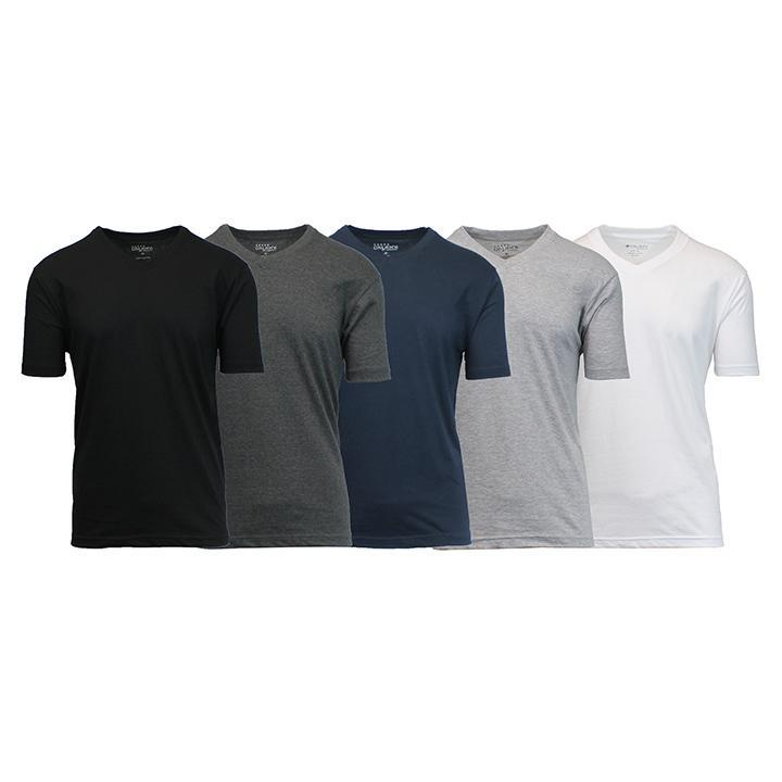 Daily Steals-Men's Premium Cotton Blend Short Sleeve V-Neck Tees - 5 Pack-Men's Apparel-Black - Charcoal - Navy - Heather Grey - White-Medium-