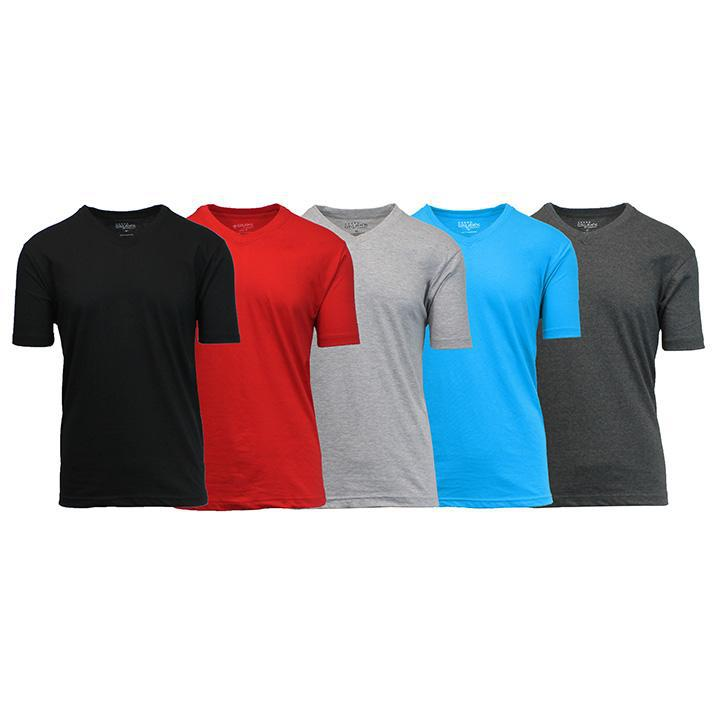 Daily Steals-Men's Premium Cotton Blend Short Sleeve V-Neck Tees - 5 Pack-Men's Apparel-Black - Red - Heather Grey - Aqua - Charcoal-Medium-