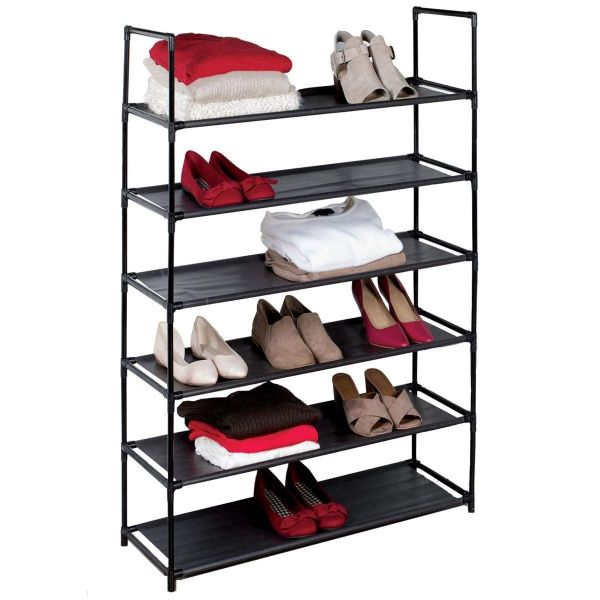 6-Tier Space Saving Shoe Rack (Fits 30 Pairs)-Black-Daily Steals