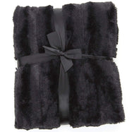 Ultra Cozy Faux Fur Microplush Reversible Throw Blanket-60x50 - Black-Daily Steals