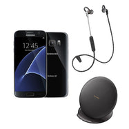 Samsung Galaxy S7 32GB Factory Unlocked GSM 4G Smartphone + Samsung Fast Charge Stand + Plantronics Backbeat Fit 305-Black Galaxy S7, Black Charging Stand, Black Backbeat Fit-Daily Steals