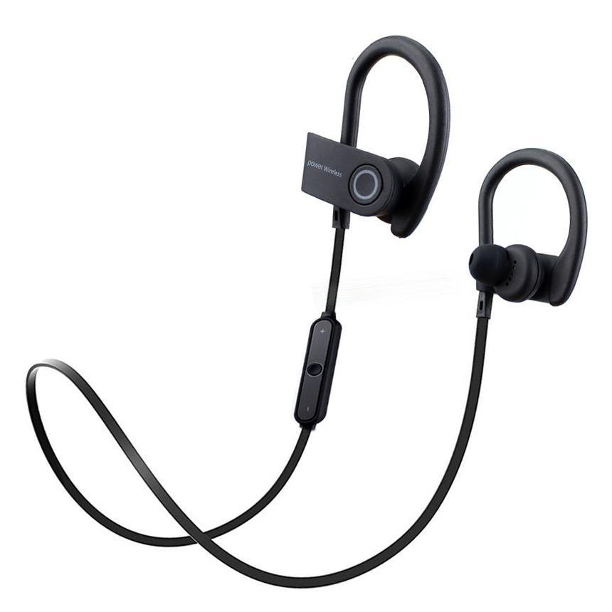 iPM PowerBuds Wireless Running Sport Earphones with Ear-Hook and Mic-Black-Daily Steals