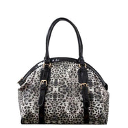 Leopard Print Leather Satchel Bag-Black-Daily Steals
