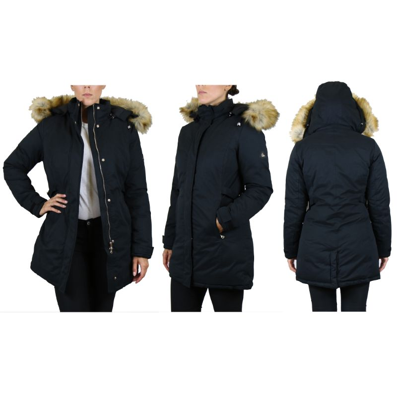 Women's Heavyweight Parka Jacket With Detachable Hood-2XL-Black Classic Parka-Daily Steals