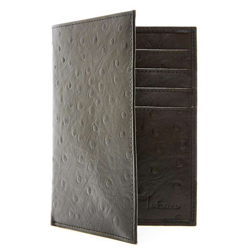 Passport Holder Cover RFID Blocking - Leather Credit Card Organizer-Black Ostrich-Daily Steals