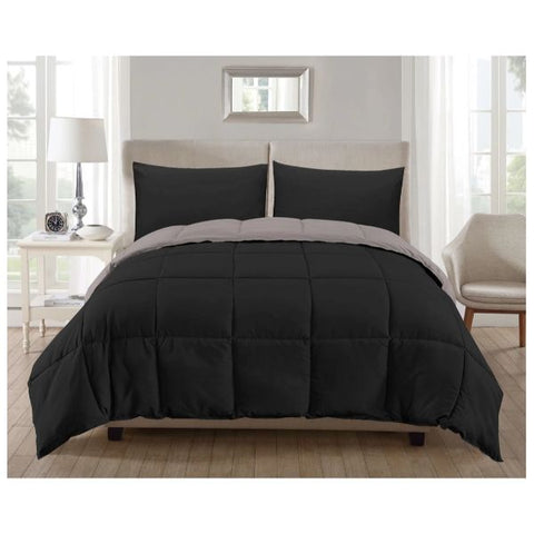 Daily Steals-Kensie 3-Piece Reversible Down Alternative Comforter Set-Home and Office Essentials-Black-Silver-Twin-