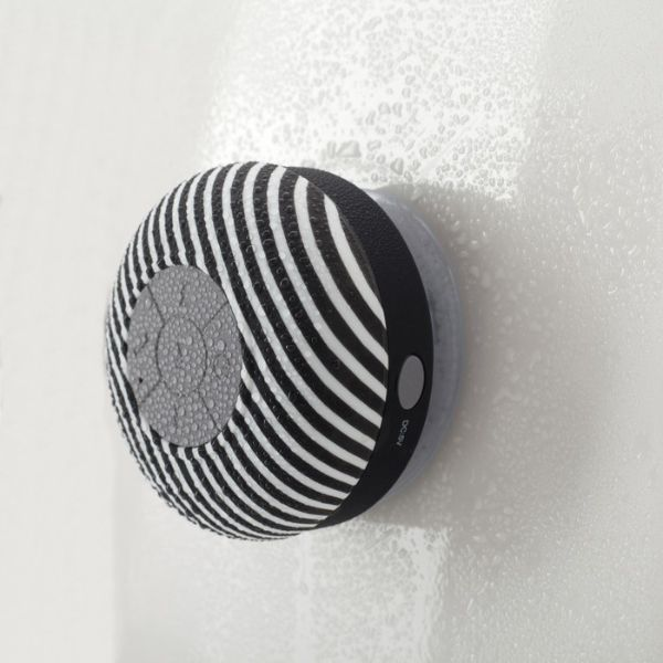 update alt-text with template Daily Steals-Liger Water-Resistant Bluetooth Shower Speaker - 2 Pack-Speakers-Black Stripe-