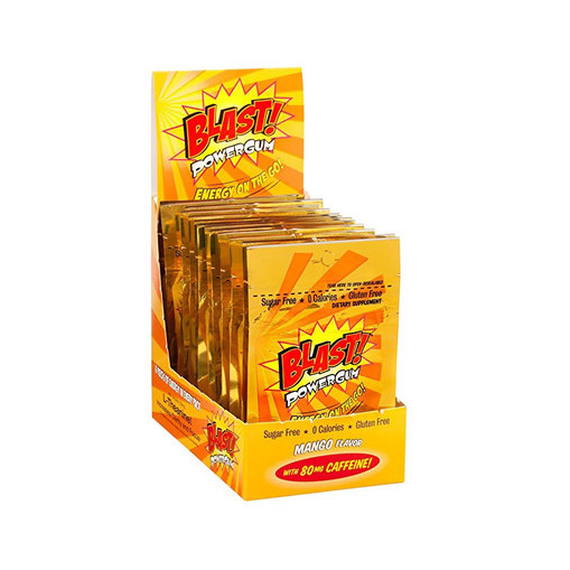 Daily Steals-BLAST Power Gum with 80mg Caffeine - 24 Pouches (144 Total Pieces )-Foods-Mango-