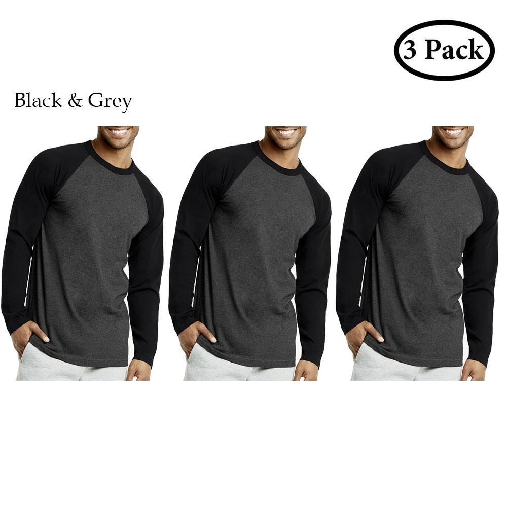 Unibasic Men's Classic Raglan Cut Long Sleeve - 2 Tone Baseball Tee-3 Pack Black and Grey-S-Daily Steals