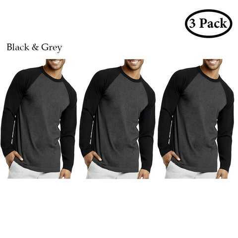 Unibasic Men Classic Raglan Cut Long Sleeve Two Tone Baseball Tee