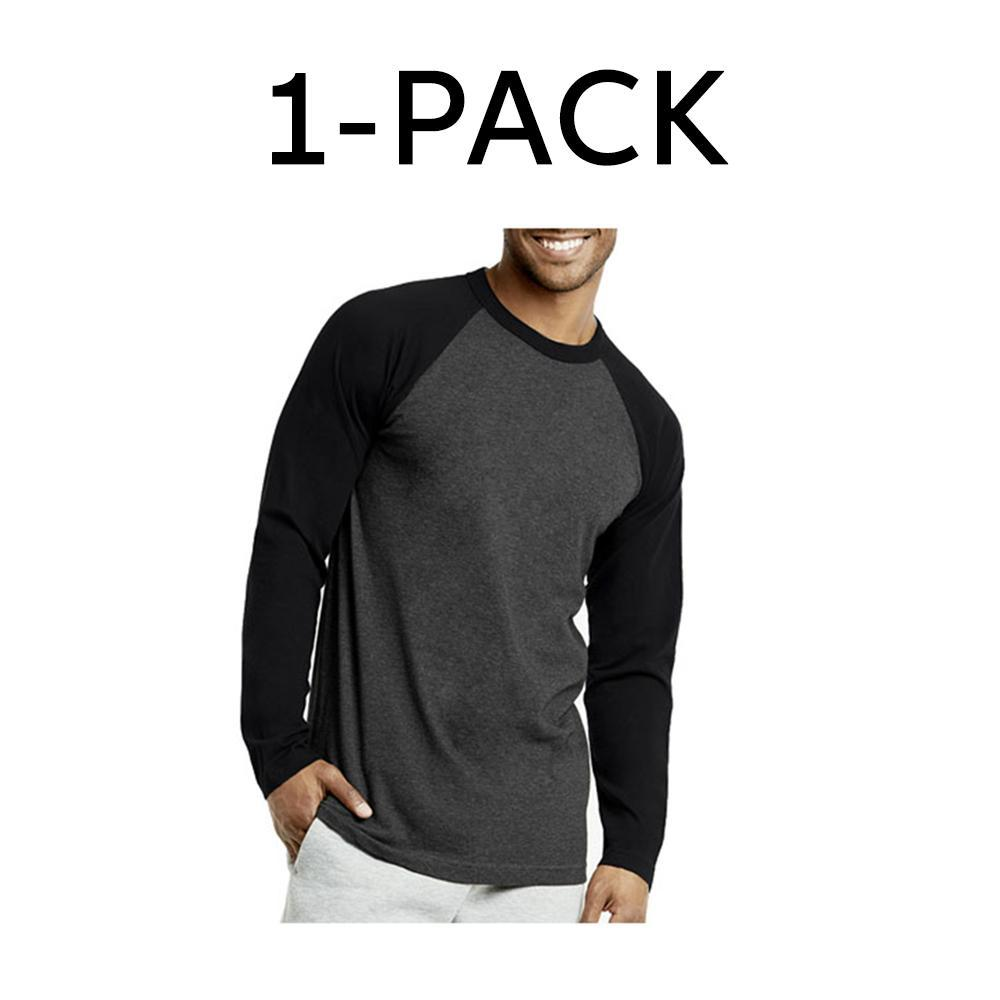 Unibasic Men's Classic Raglan Cut Long Sleeve - 2 Tone Baseball Tee-1 Pack Black and Grey-S-Daily Steals