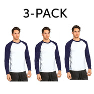 Unibasic Men's Classic Raglan Cut Long Sleeve - 2 Tone Baseball Tee-3 Pack Navy Blue and White-S-Daily Steals