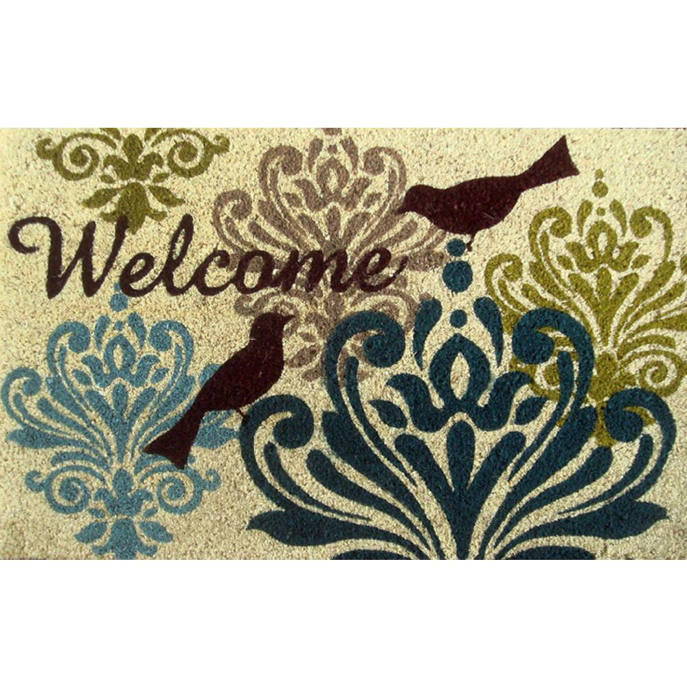 "18"" x 28"" Outdoor Printed Coir Mat-Bleached, Bird Damask-Daily Steals"