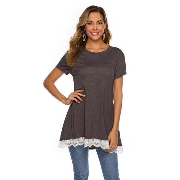 Women's Long Lace Trim Top by Lilly Posh-Coffee-L-Daily Steals
