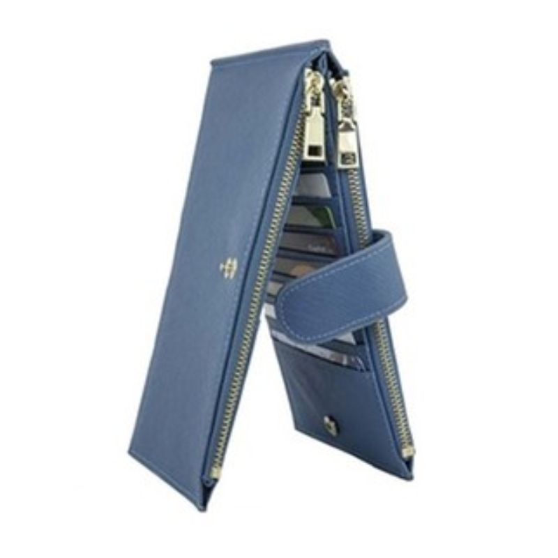 RFID Blocking Bifold Multi Card Case Wallet with Zipper Pocket-Navy-Daily Steals