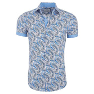 Suslo Couture Men's Slim Fit Designable Printed Short Sleeve Button Down Shirt-Blue & Light Blue Paisley-S-Daily Steals