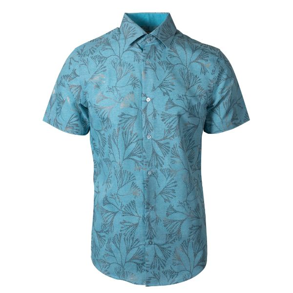 Daily Steals-Suslo Couture Men's Slim Fit Casual Printed Short Sleeve Button Down Shirt-Men's Apparel-Blue & Blue Branches-3XL-