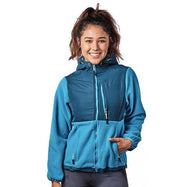 Women's Two-Tone Full-Zip Fleece Jacket-Teal/Peacock-L-Daily Steals