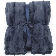 Ultra Cozy Faux Fur Microplush Reversible Throw Blanket-60x50 - Blue-Daily Steals