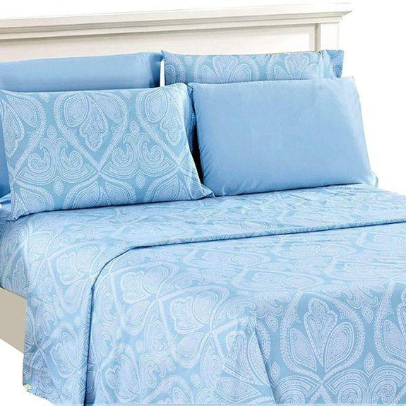 6 Piece Paisley Printed Deep Pocket Bed Sheet Set-BLUE-Full-Daily Steals