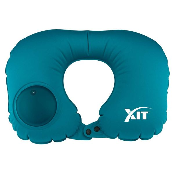 Inflatable Neck Pillow for Travel with Built-in Pump-Blue-Daily Steals