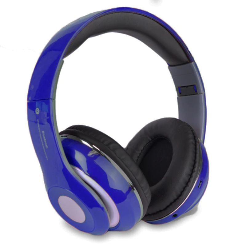Bluetooth Wireless Headphones with Built In FM Tuner, Memory Card Slot and Mic-Blue-Daily Steals