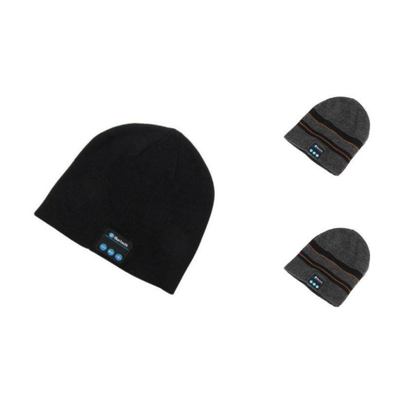 Bluetooth Winter Beanie - 3 Pack-2 Striped Grey, 1 Black-Daily Steals