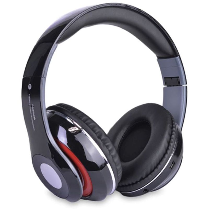 Bluetooth Wireless Headphones with Built In FM Tuner, Memory Card Slot and Mic-Black-Daily Steals