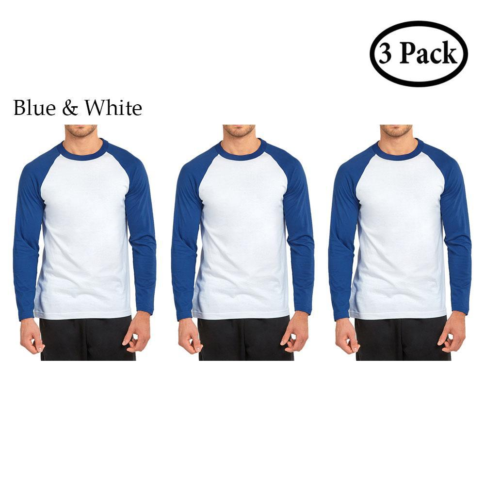 Daily Steals-Unibasic Men's Classic Raglan Cut Long Sleeve - 2 Tone Baseball Tee-Men's Apparel-3 Pack Royal Blue and White-S-