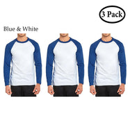 Unibasic Men's Classic Raglan Cut Long Sleeve - 2 Tone Baseball Tee-3 Pack Royal Blue and White-S-Daily Steals