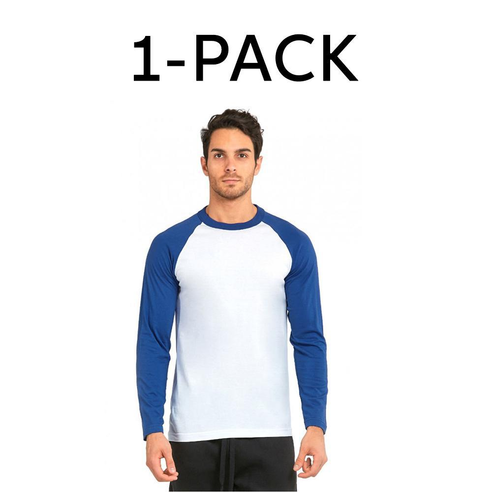 Unibasic Men's Classic Raglan Cut Long Sleeve - 2 Tone Baseball Tee-1 Pack Royal Blue and White-S-Daily Steals
