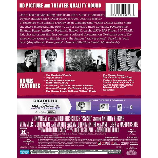 Alfred Hitchcock's Psycho Movie - Blu-Ray - Collector's Edition Steelbook