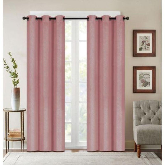 "Embossed Faux Silk 76""x63"" or 76""x84"" Grommet Window Panel Pair-BLUSH-76'' X 84''-Daily Steals"
