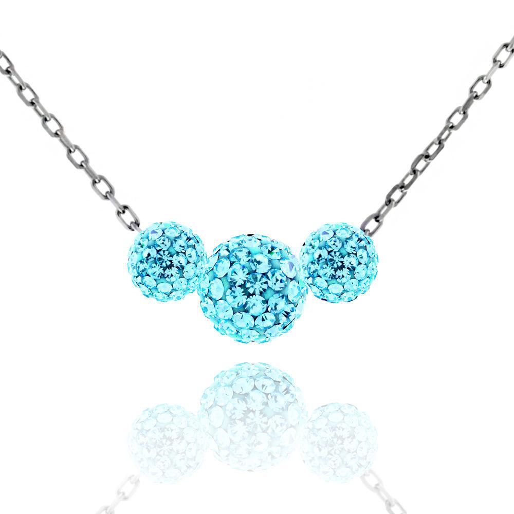 Triple Crystal Ball Drop Necklace-Aqua-Daily Steals