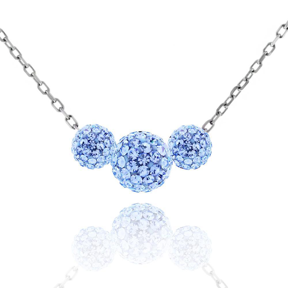 Triple Crystal Ball Drop Necklace-Blue-Daily Steals