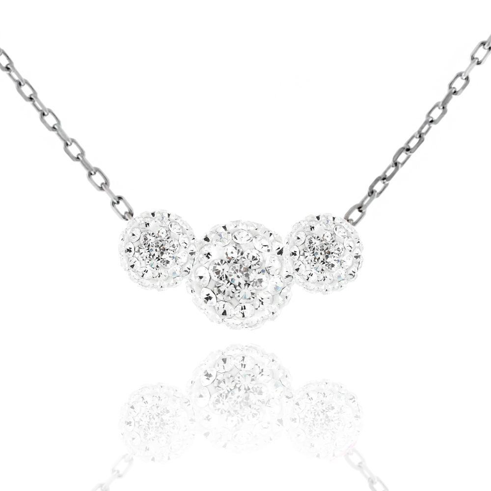 Triple Crystal Ball Drop Necklace-Clear-Daily Steals
