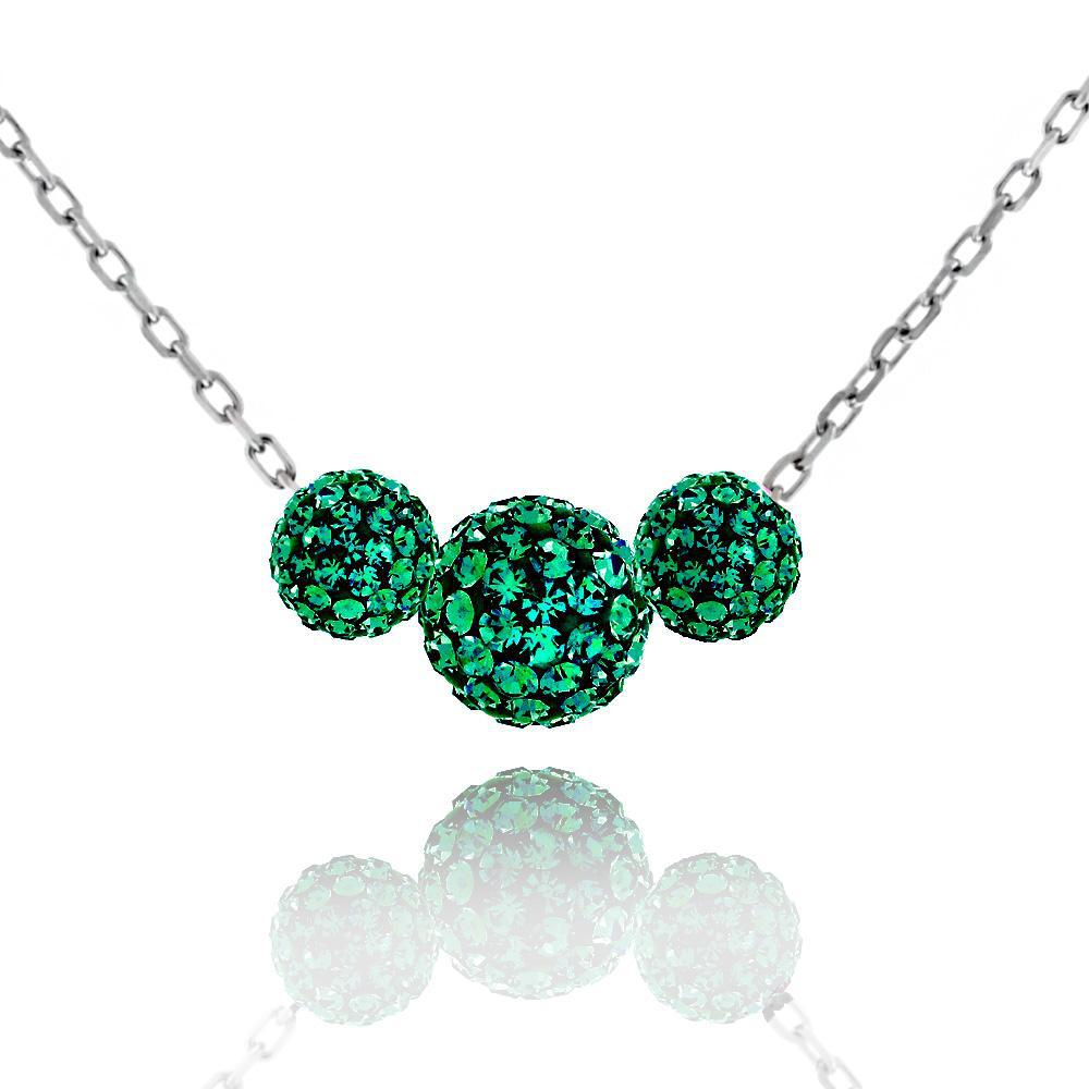 Triple Crystal Ball Drop Necklace-Emerald-Daily Steals