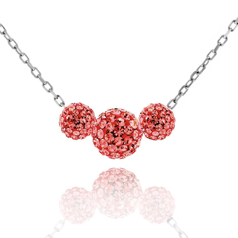 Triple Crystal Ball Drop Necklace-Garnet-Daily Steals